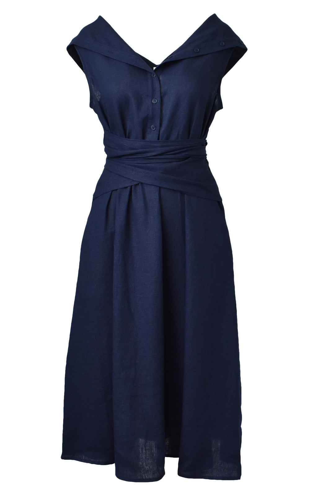 Amadi Octavia Wrap Tie Dress Navy