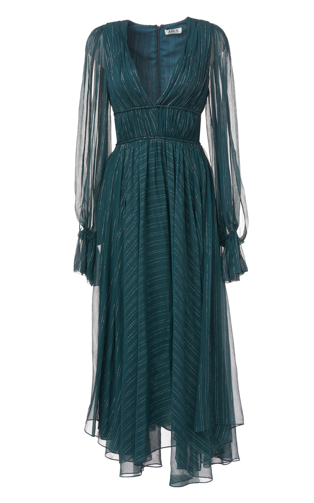 Heidi Deep Emerald Green Plunging Deep V-Neck Metallic Stripe Long Sleeve Silk Dress