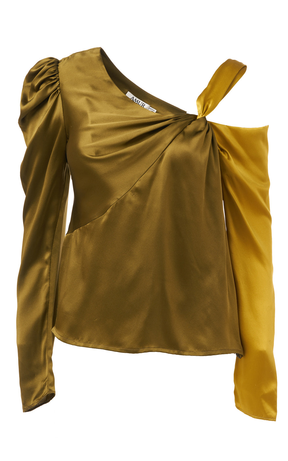 Mabel Ochre/Moss Two-Tone Twisted Cold-Shoulder Silk Long Sleeve Top