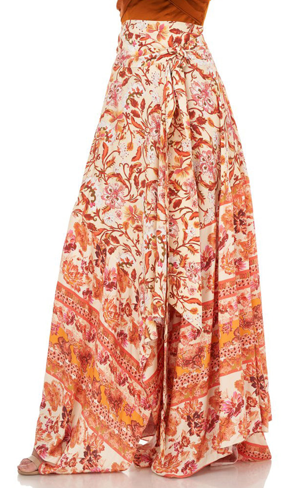 AMUR Bright Floral Nova High Waisted Front Tie Silk Handkerchief Skirt