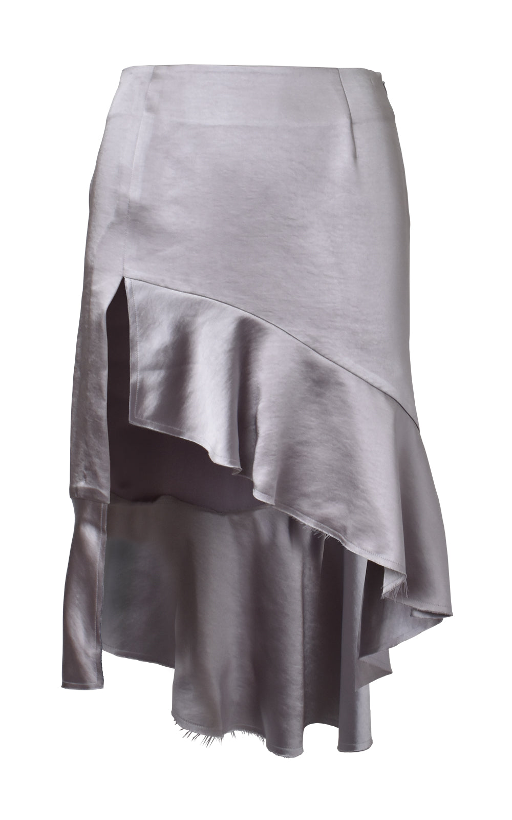 Asymmetric Ruffled Satin Skirt Front