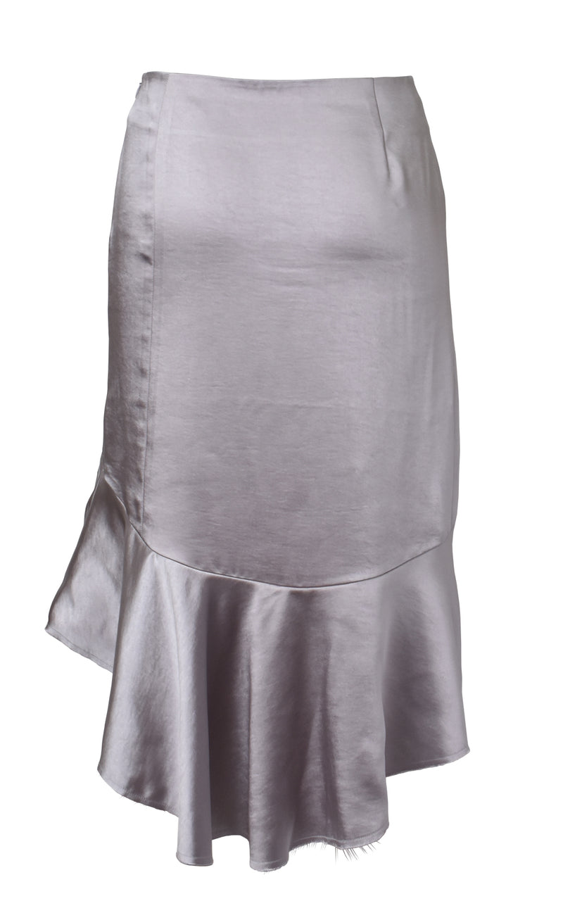Asymmetric Ruffled Satin Skirt Back Light Purple Grey