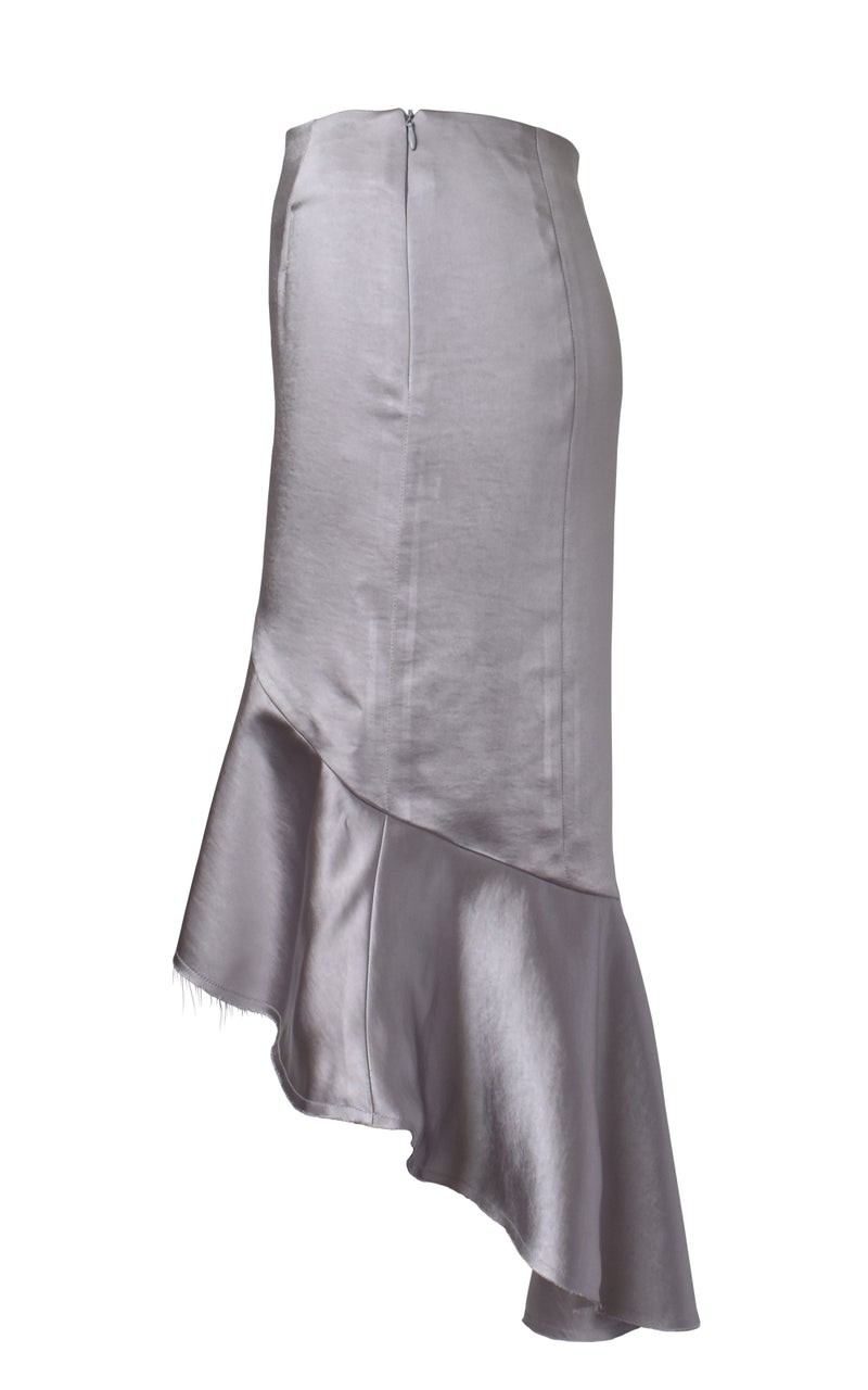 Asymmetric Ruffled Satin Skirt Side Light Purple Grey
