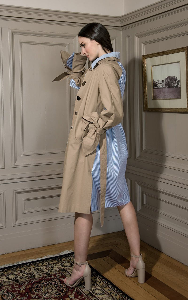 Front/Back Khaki & Seersucker Wrist Tie Trench Coat Khaki/Blue Stripe