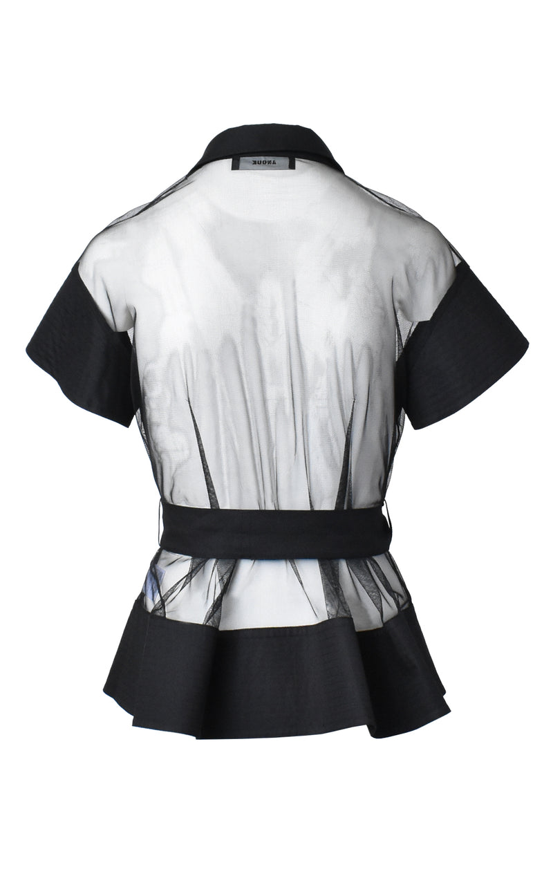 Black Mesh Button Front Short Sleeve Tie Waist Top