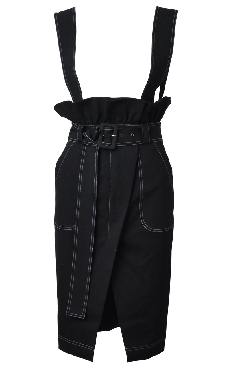 Black Denim Overall Skirt