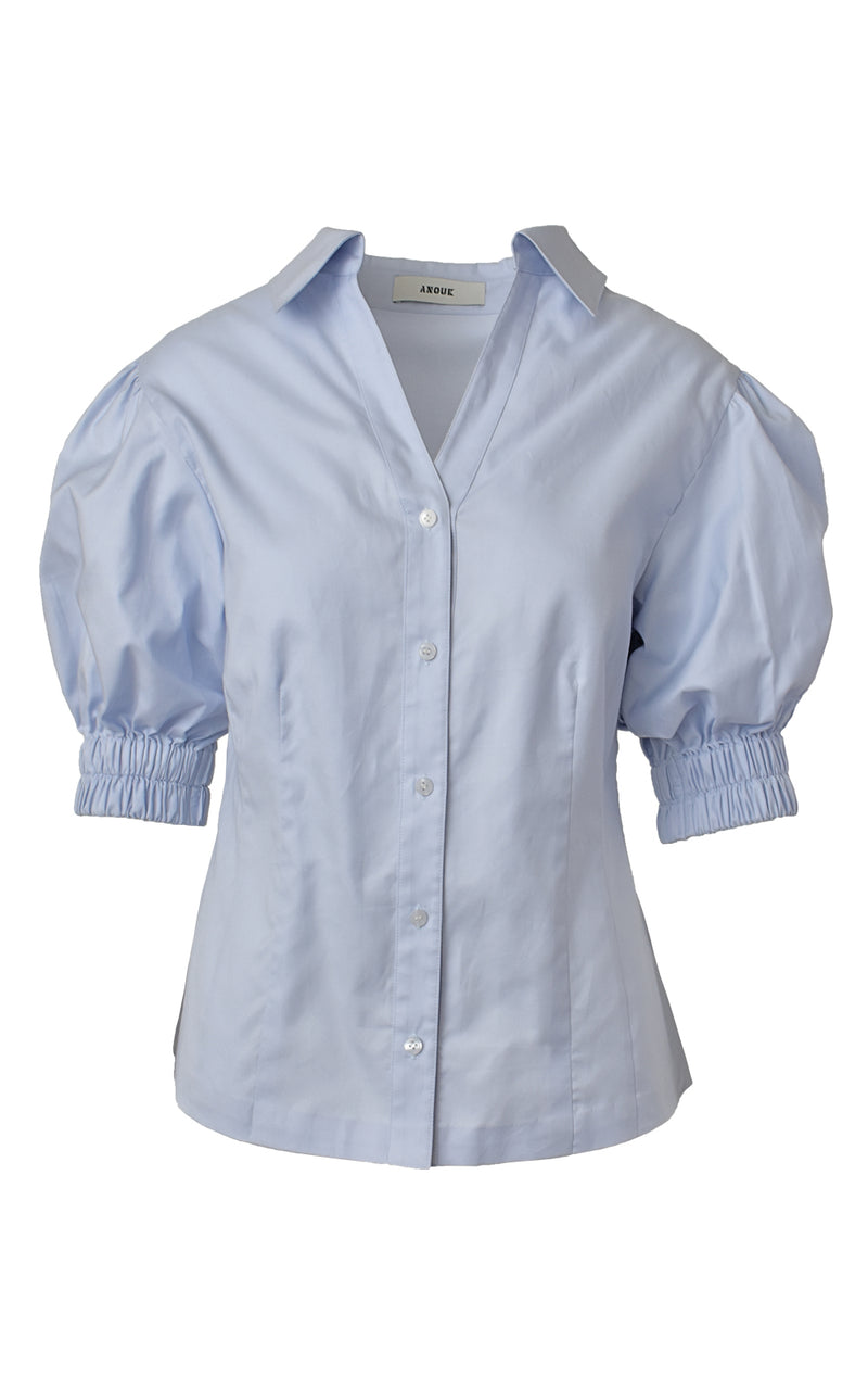 Light Blue Short Sleeve Puff Sleeve Button Down