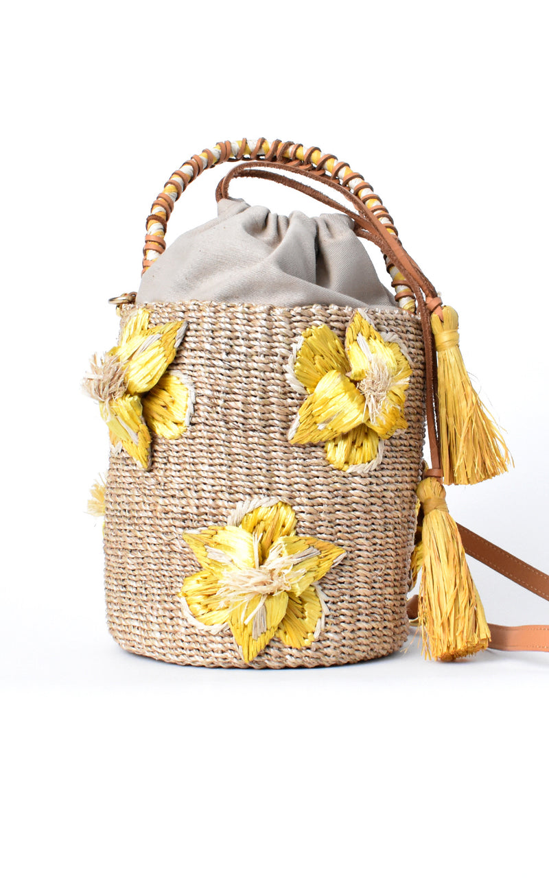 ARANAZ Hemp & Raffia Yellow Floral Lulu Bucket Bag
