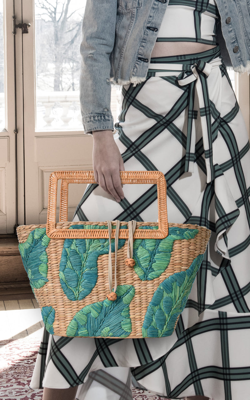 ARANAZ Raffia & Wicker Woven Palm Cherine Tote Palm Green