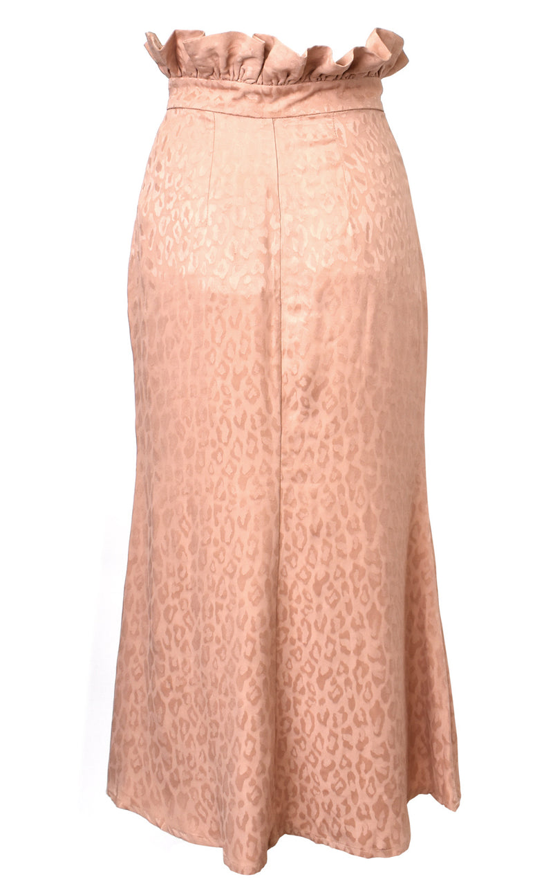 AZULU Almond Pink Leopard Cassie High Waisted Paper Bag Leopard Pin Tuck Midi Skirt