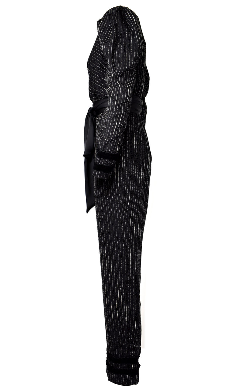 Azulu Black Metallic Stripe Mock Wrap V-Neck Long Sleeve Jumpsuit