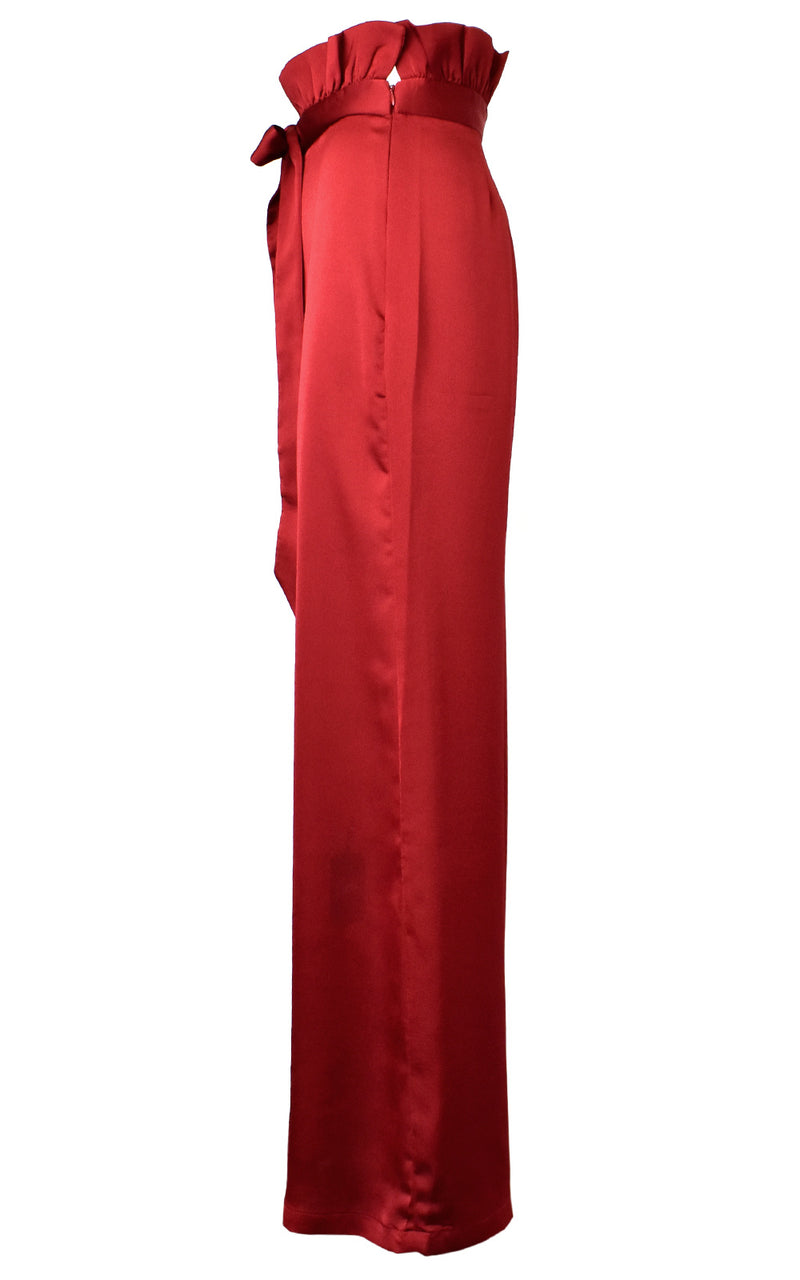 Azulu Maui Red Wine Belted Waist Tie Wide Leg Paper Bag Pant