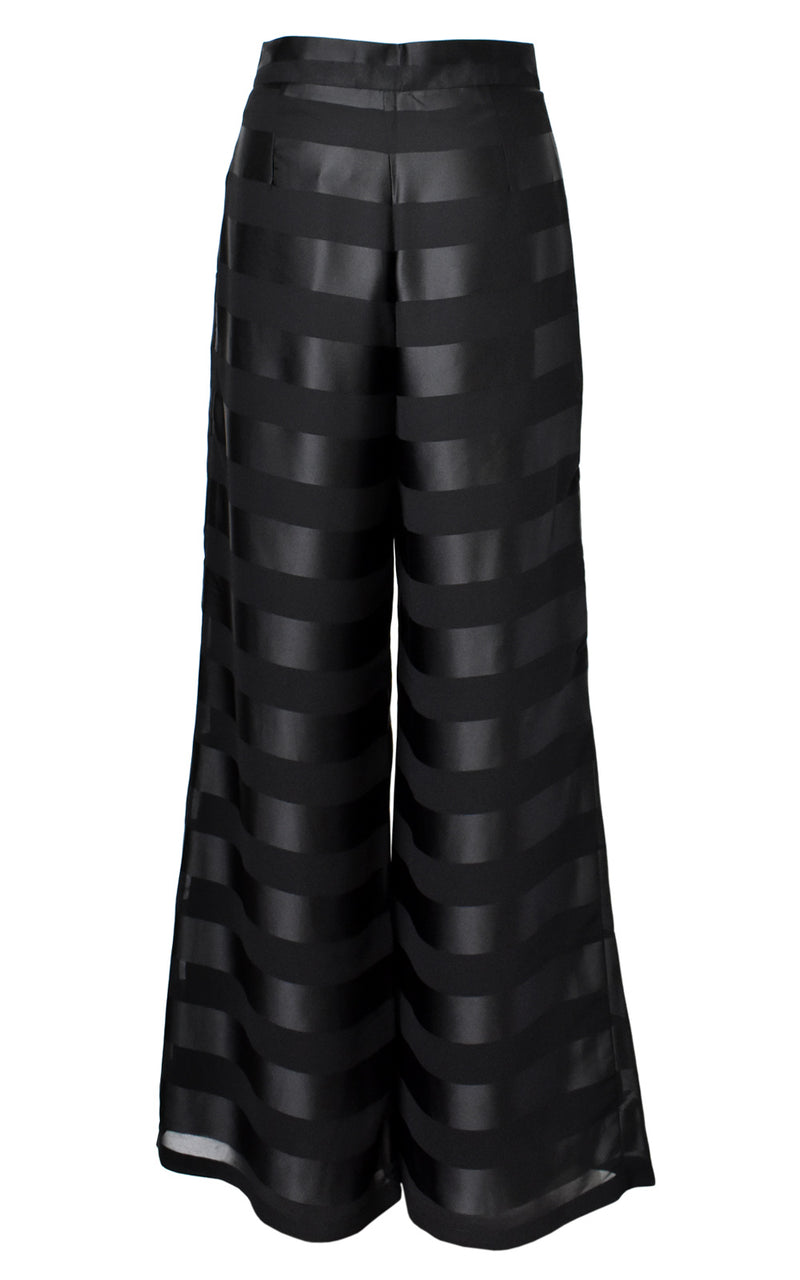 AZULU Milonga Black Mono Stripe High Waisted Flare Cut Pant