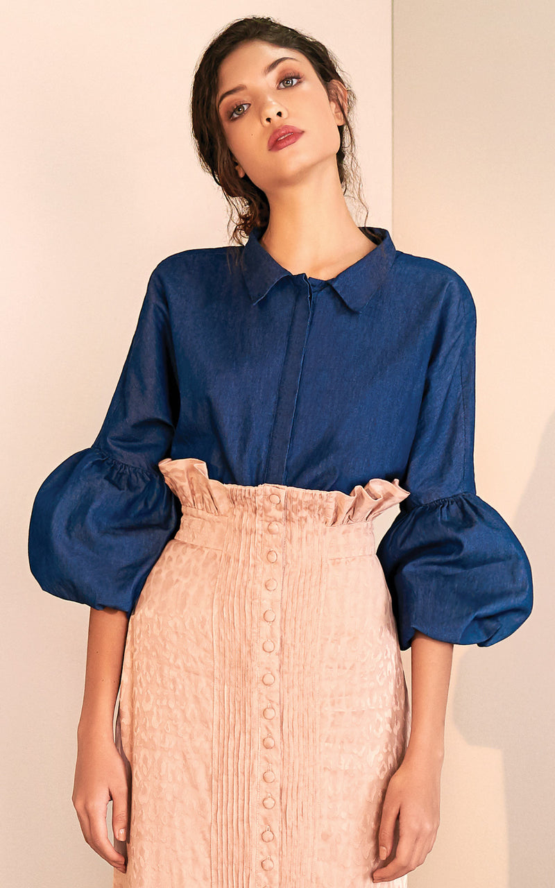 Azulu Moonlight Chambray Denim Button Up Puff Sleeve Blouse