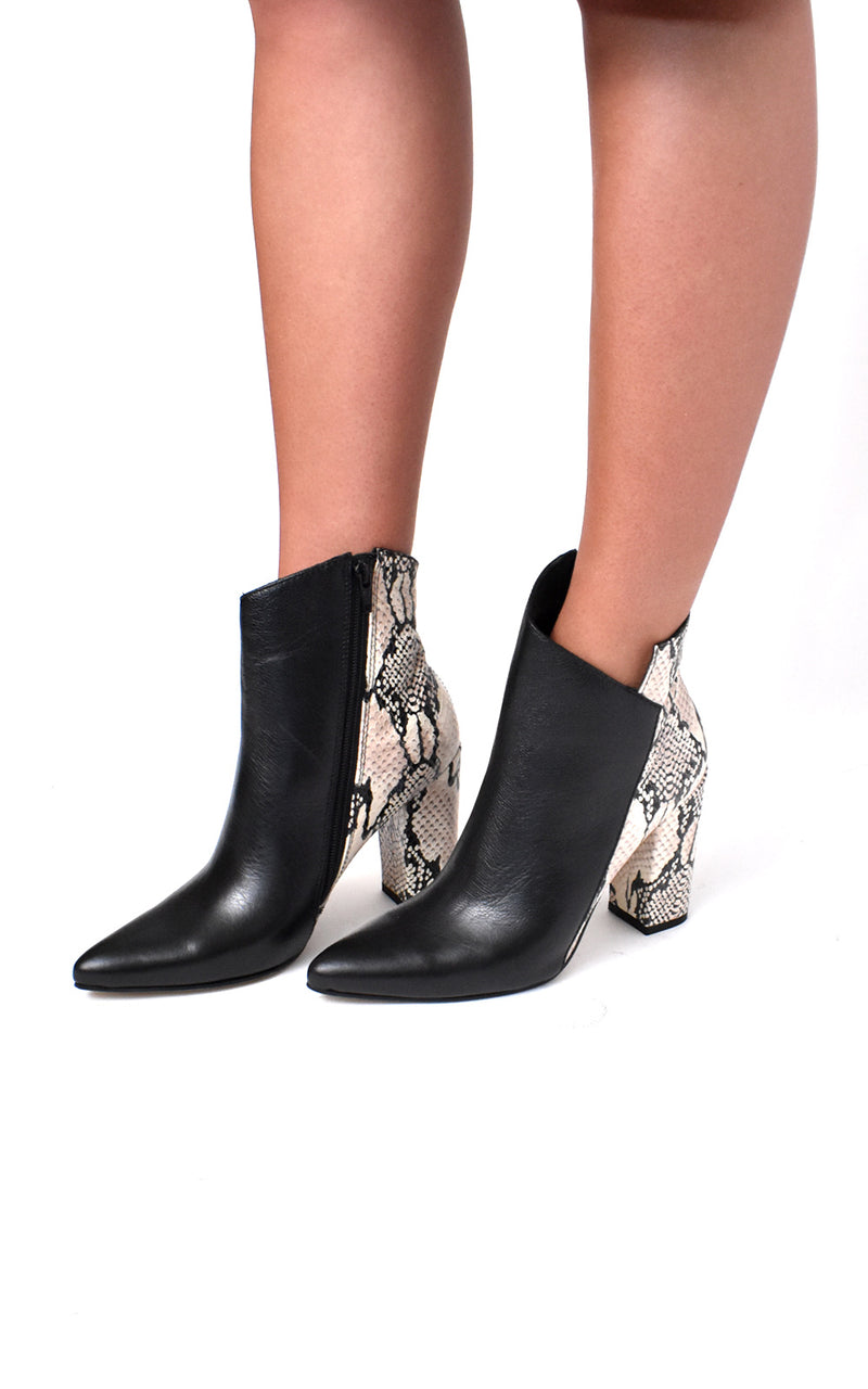 Passion Python Print Block Heel Leather Bootie