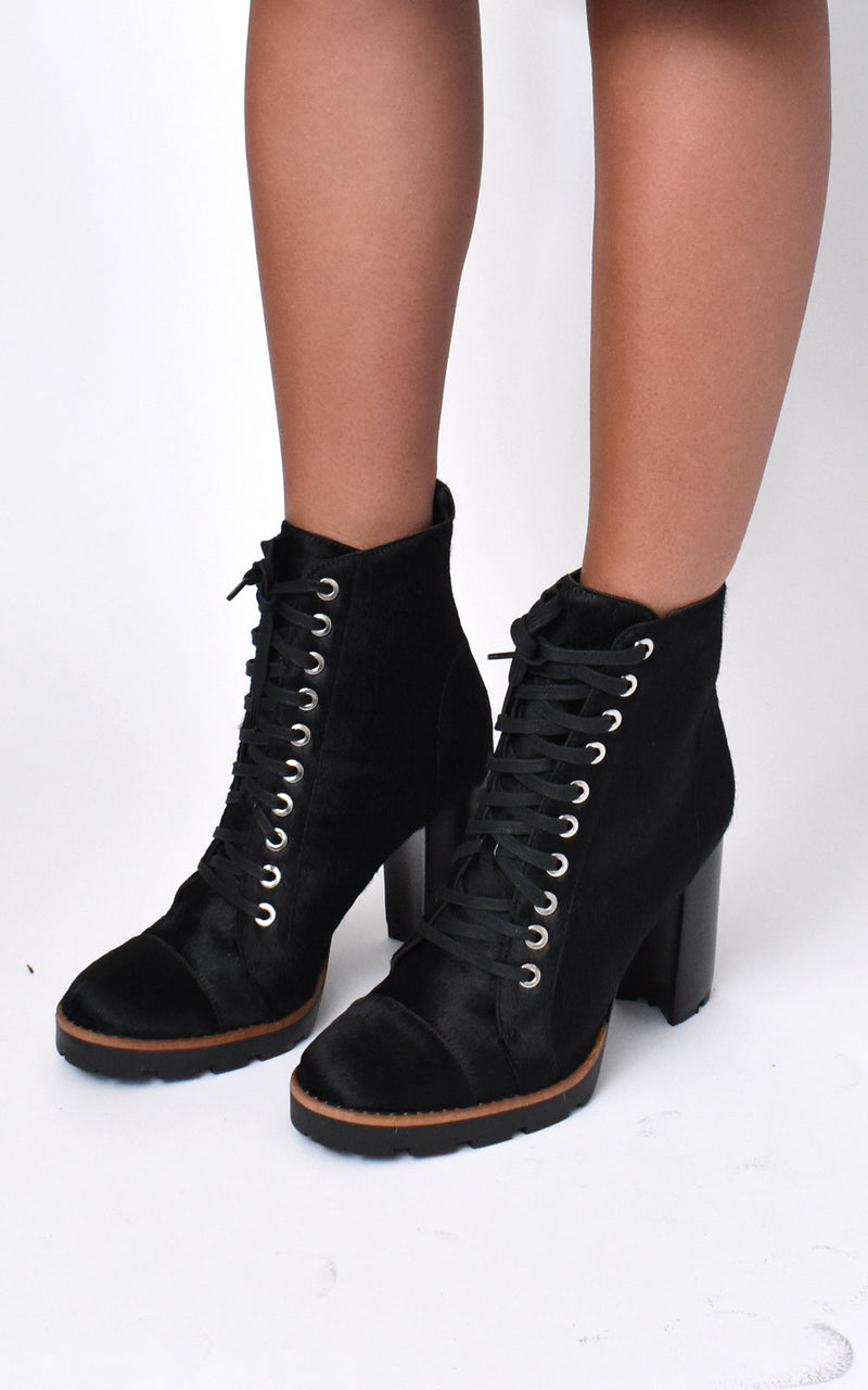 Calf Hair Lace-Up Boots