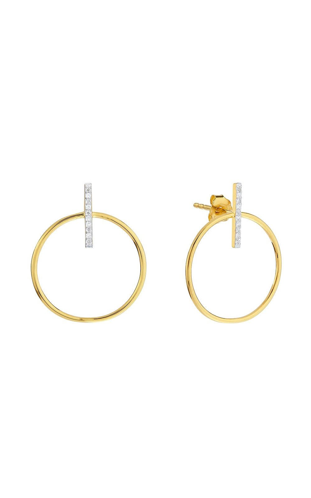 Contemporary Diamond Bar Hoop Earrings
