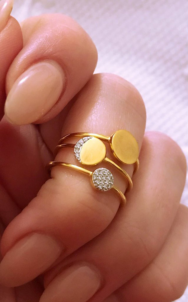 Carrie Elizabeth Moon 14k Gold Vermeil Stacking Diamond Ring Set