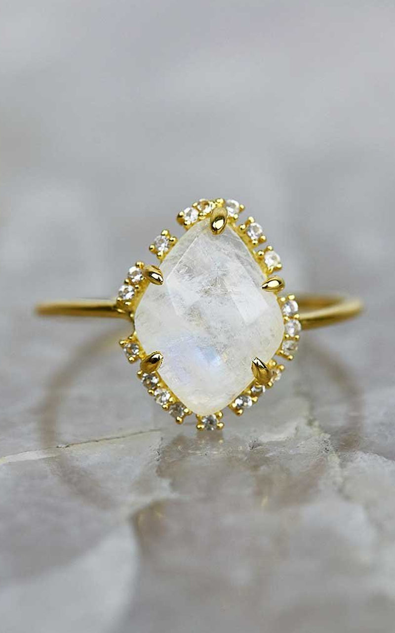 Carrie Elizabeth Moonstone & White Topaz Scatter Statement Ring