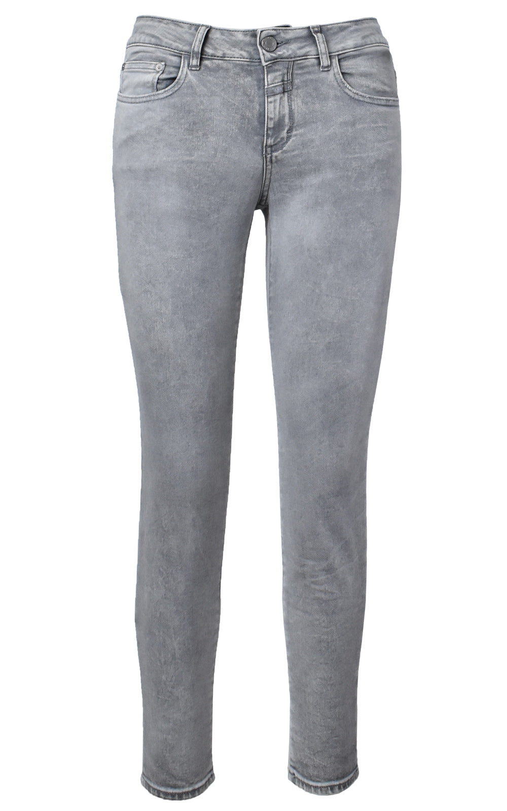 CLOSED Baker Light Grey Wash Mid Waist Denim Jeans Front