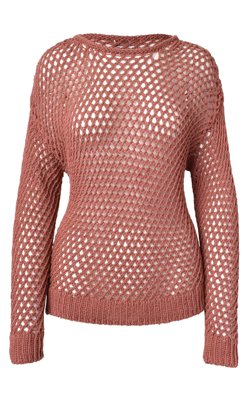 CLOSED Fishnet Crochet Loose Knit Sweater Sepia Rose