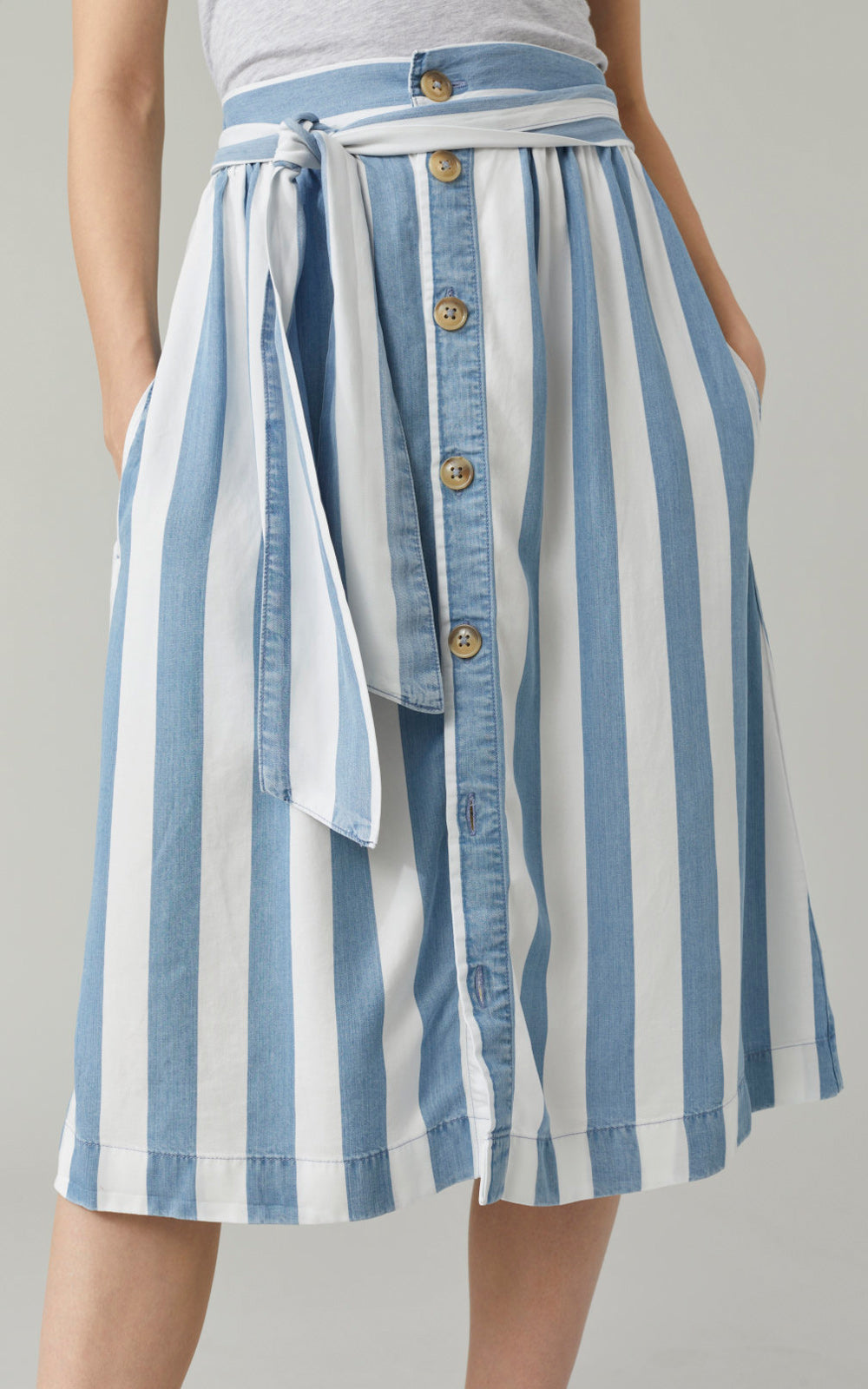 CLOSED Gillian Striped Tie Button Front Midi Skirt Light Blue Stripe