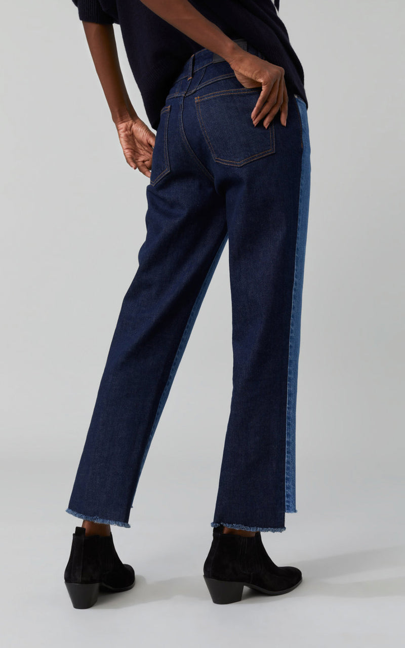 CLOSED Glow Relaxed Fit Straight Leg Color Contrast Denim Blue Jeans