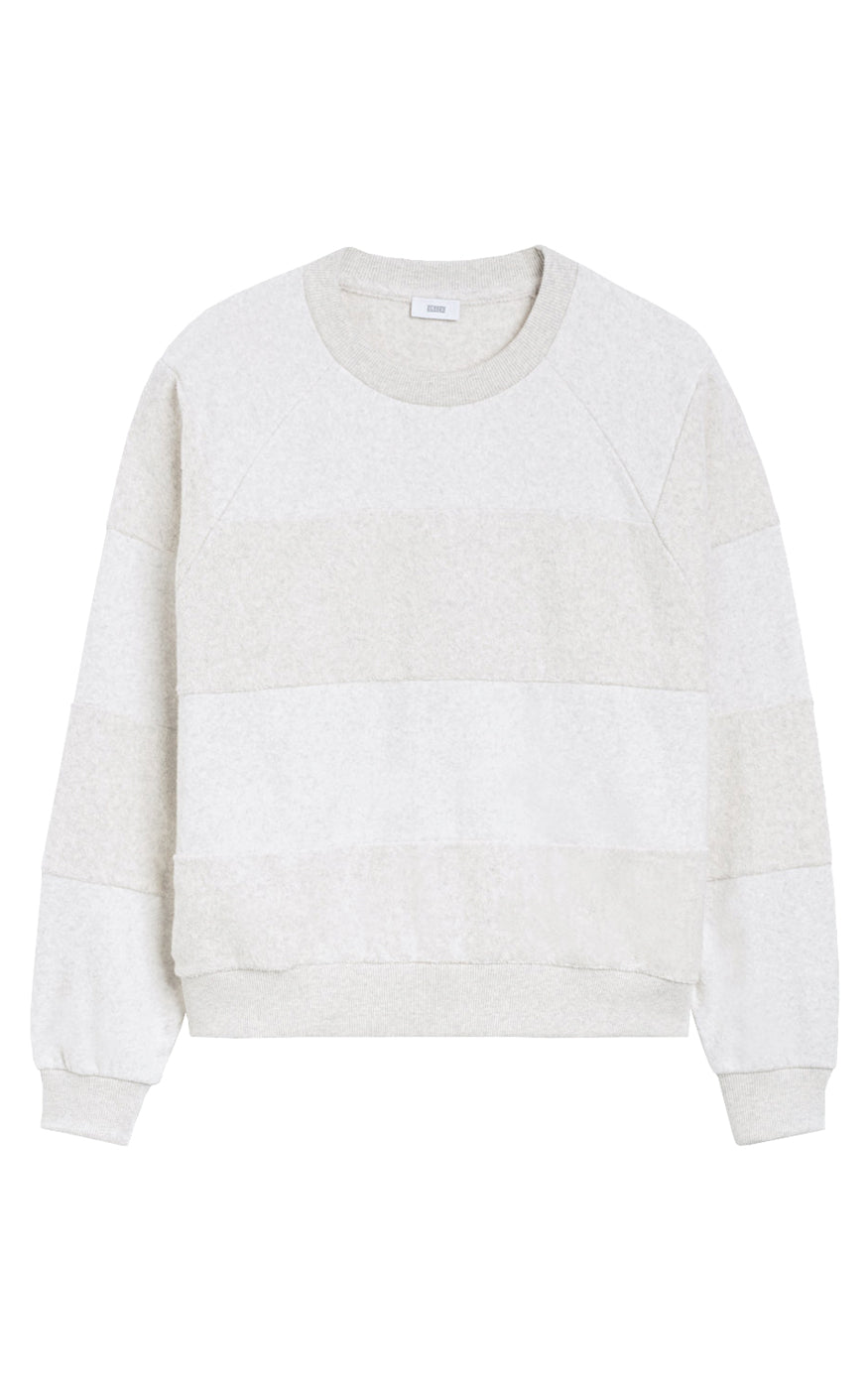 CLOSED Raglan Sleeve Textured 3-D Tonal Stripe Light Grey Stripe Sweatshirt