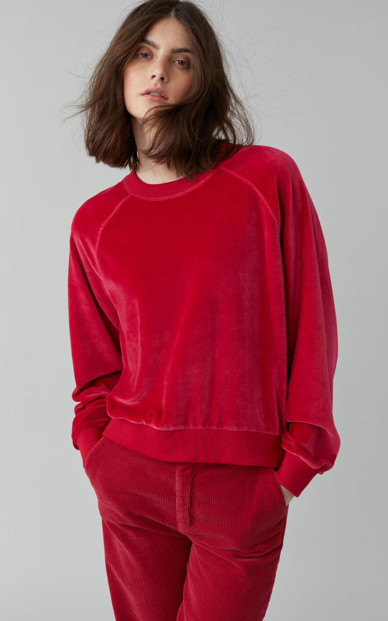Nicki Seude Ruby Red Raglan Sleeve Velvet Sweatshirt