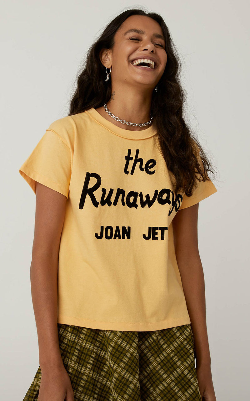 Daydreamer Joan Jett Reverse Girlfriend Tee Sunny Yellow