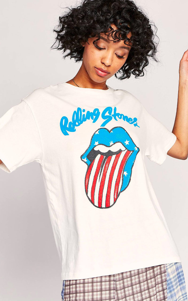 Daydreamer Rolling Stones Stars and Stripes Tongue Boyfriend Band Tee White