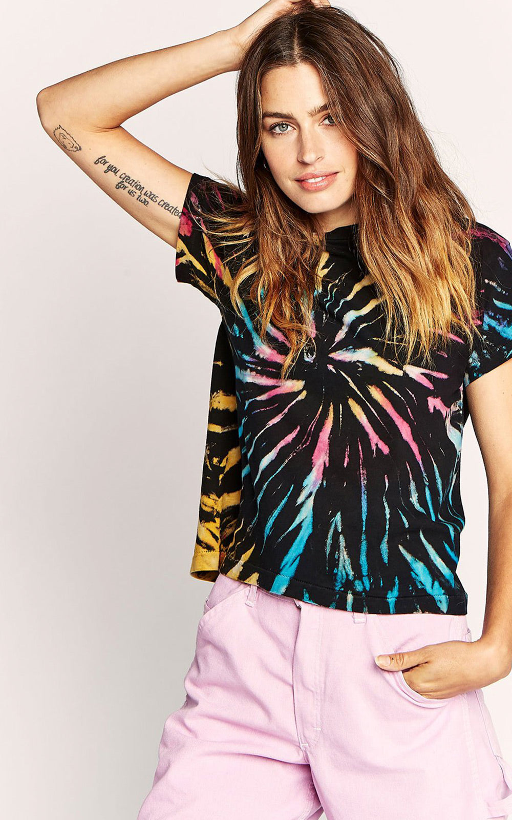 Tie-Dye Black Neon Rainbow Tie-Dye Girlfriend T-Shirt