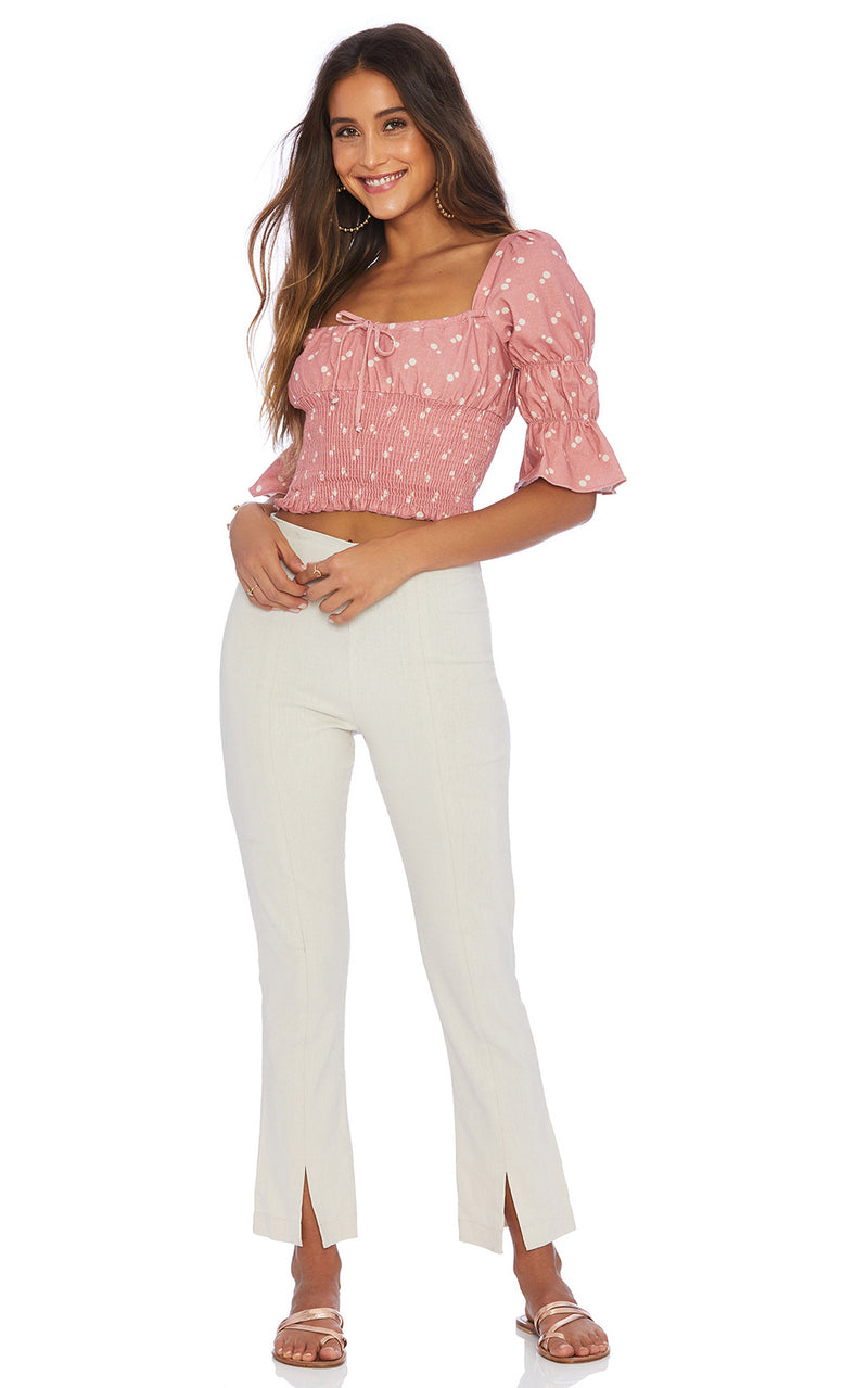 Ellejay Amanda Pink/Cream Polka Dot Smocked Puff Sleeve Crop Top