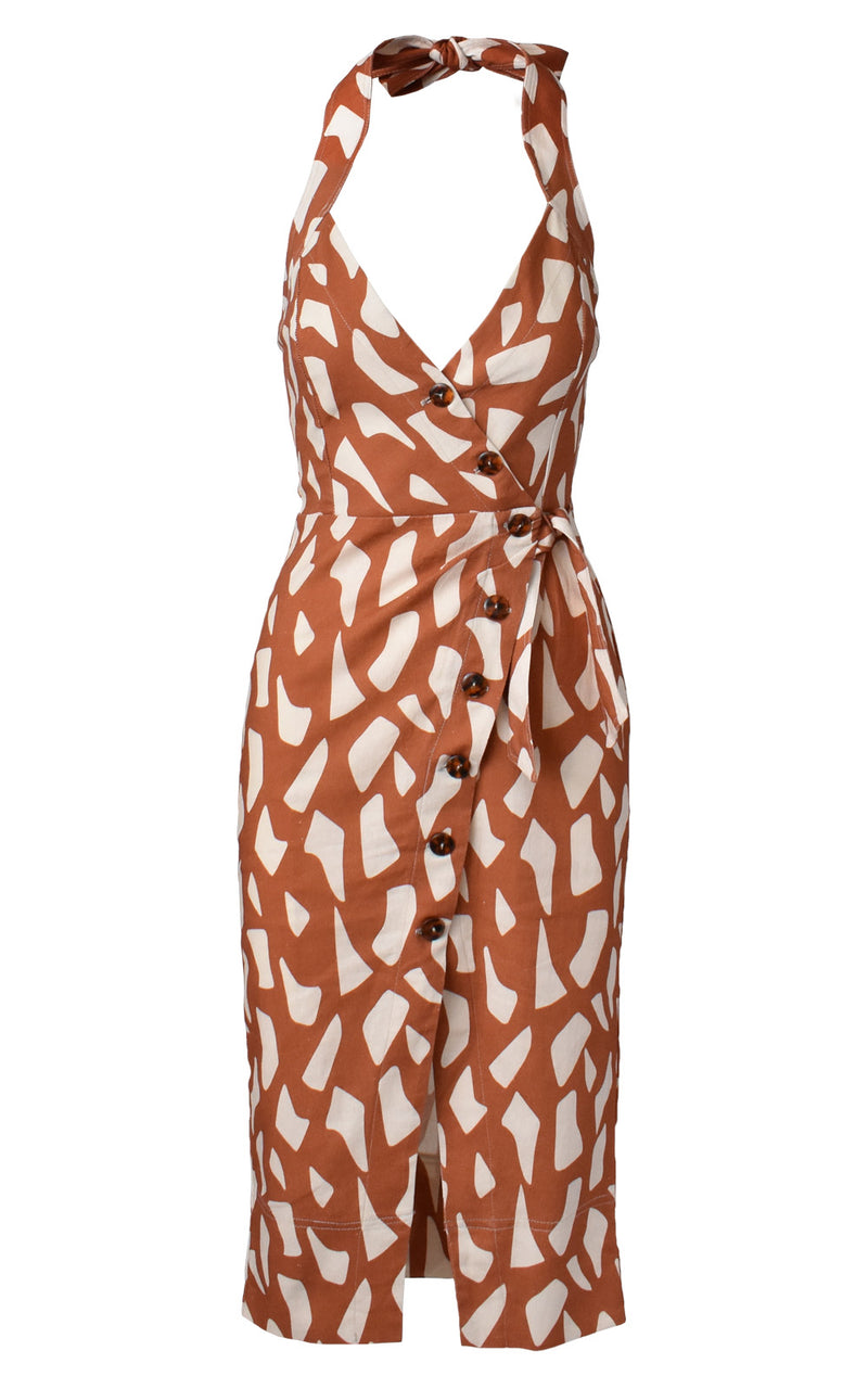 Ellejay Giraffe Print Halter Tie Button Front Midi Dress