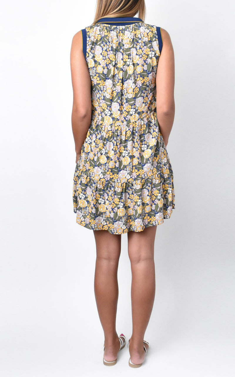 Amadi Natasha Sleeveless V-Neck Polo Dress Sunny Peonies