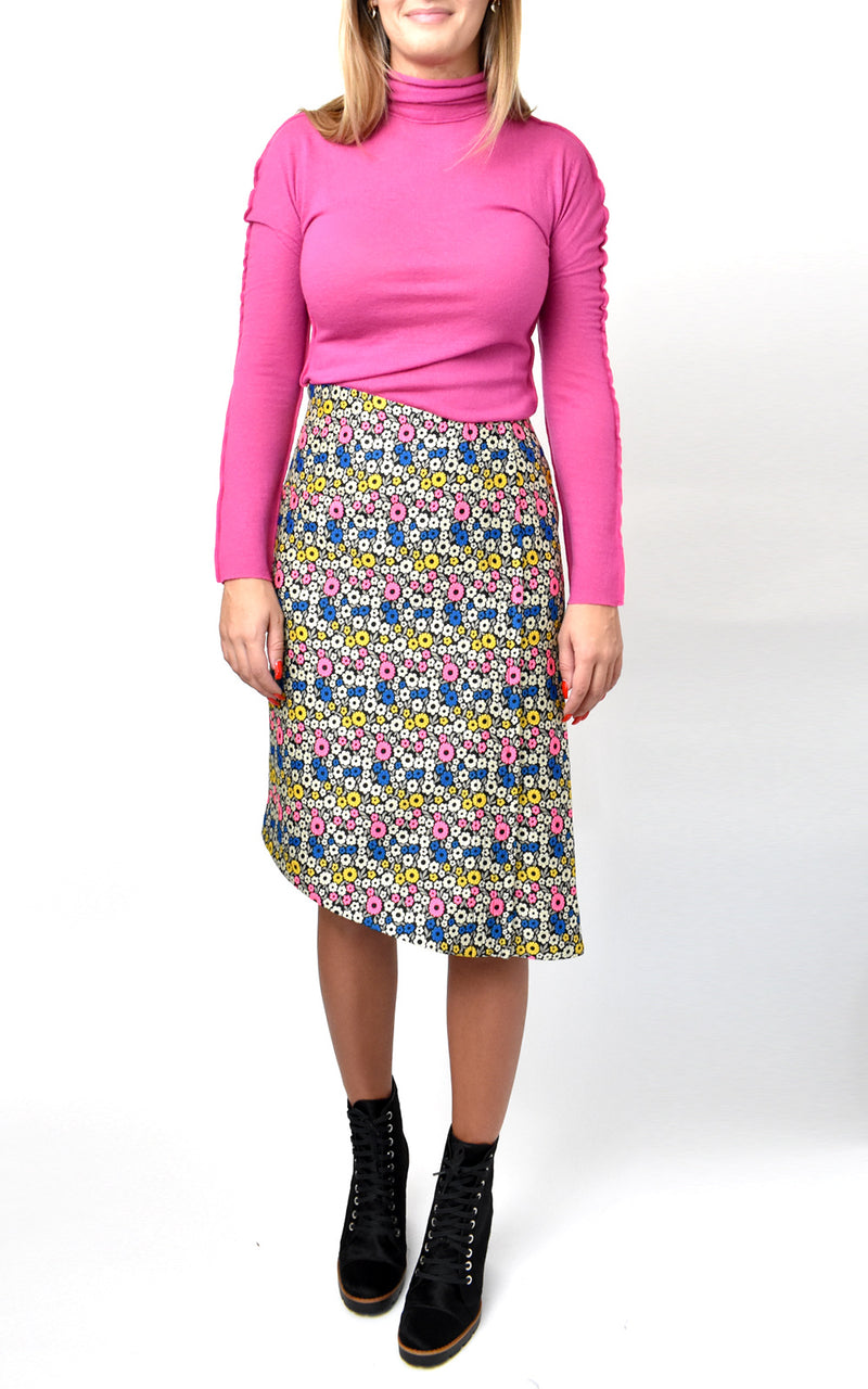 High Waisted Jacquard Floral Pencil Skirt