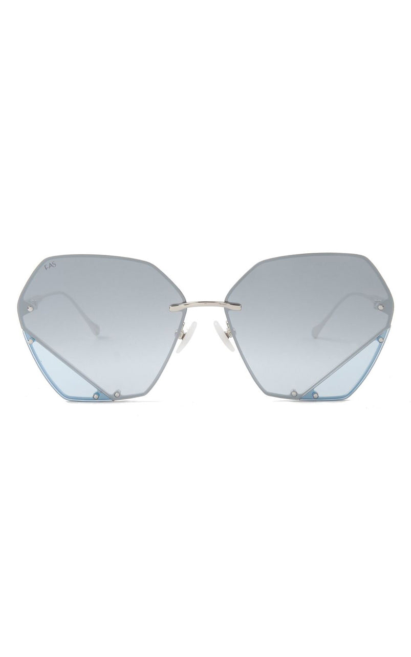 For Art's Sake Icy Two-Tone Geometric Stainless Steel Sunglasses Silver