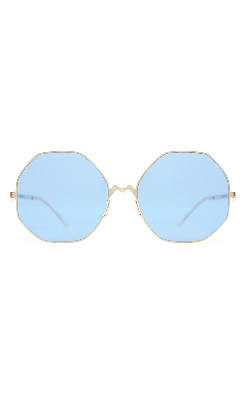 For Art's Sake M8 Blue Stainless Steel Octagon Geometric Sunglasses Blue