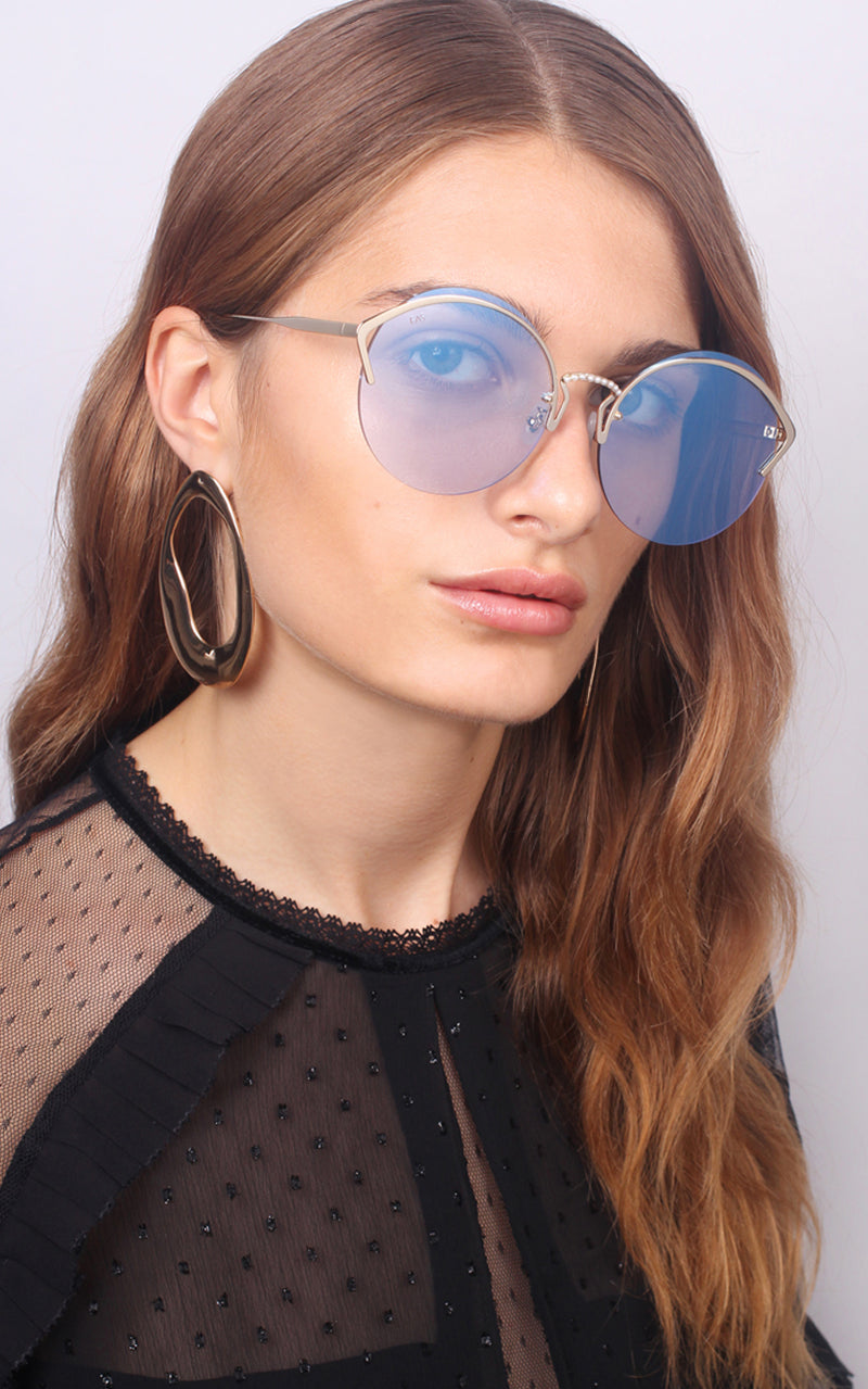 For Art's Sake Margarita Blue Gold Frame & Pearl Sunglasses