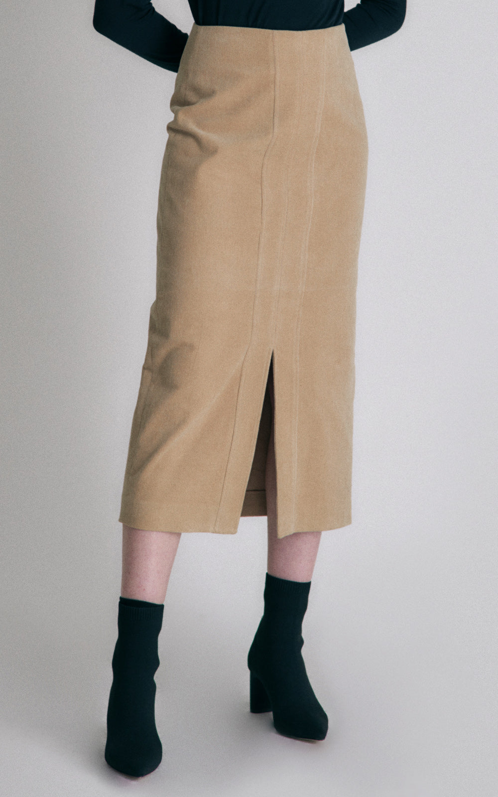 Hidden Forest Market Corduroy Pencil Skirt Khaki