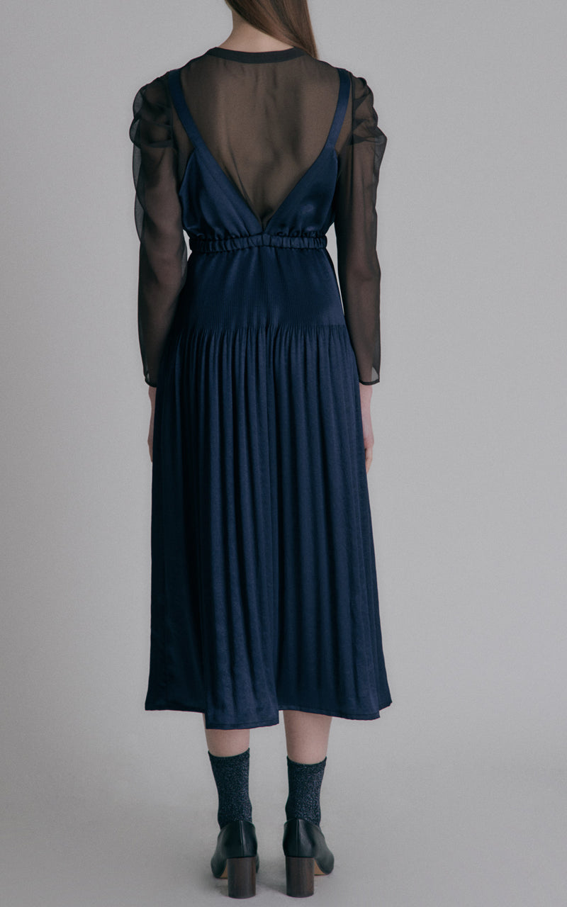 Hidden Forest Market Fortuna Shining Satin Plunging Deep V Midi Dress Navy