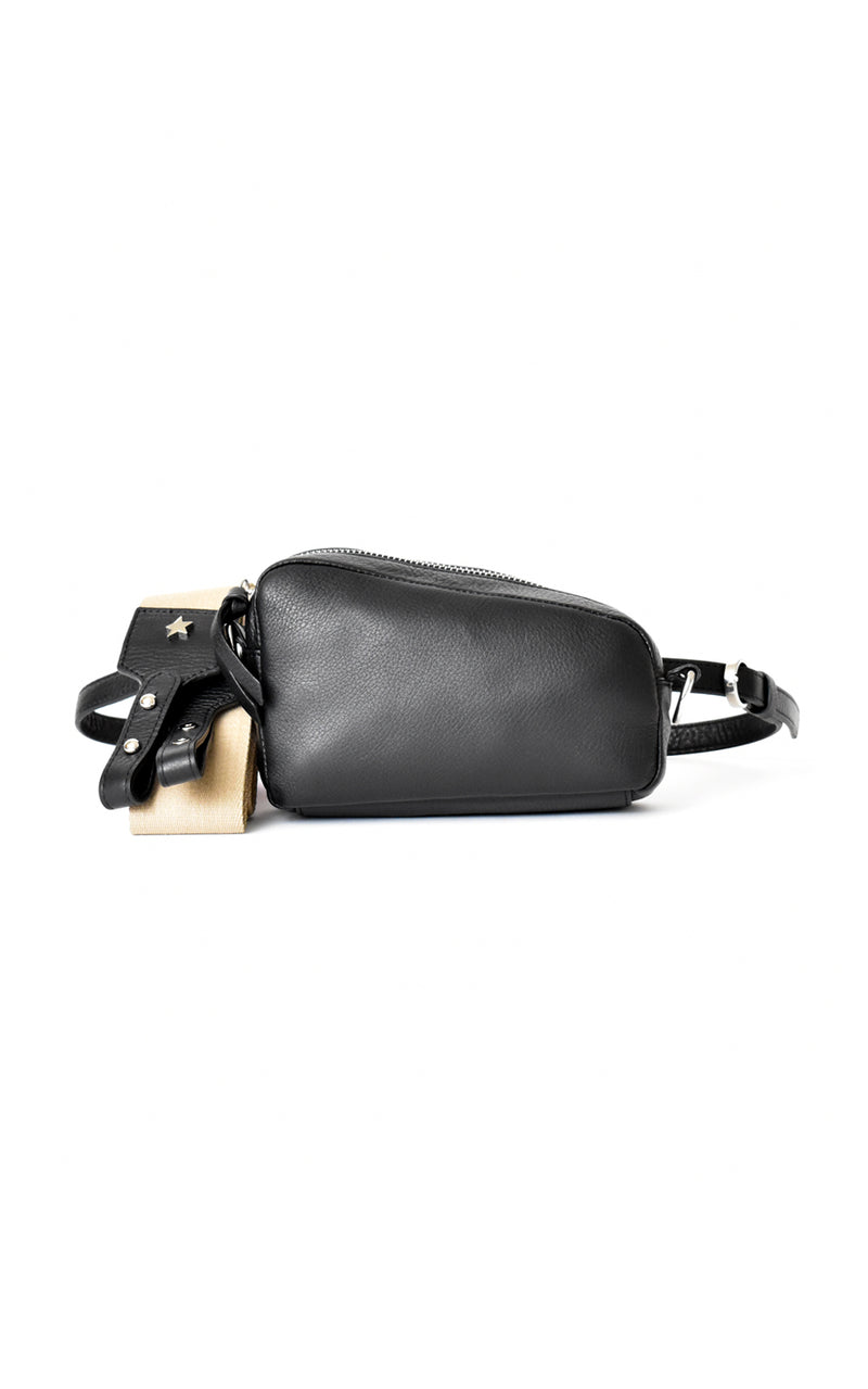 Black H-ology Leather Belt Bag with Removable Shoulder Strap Front