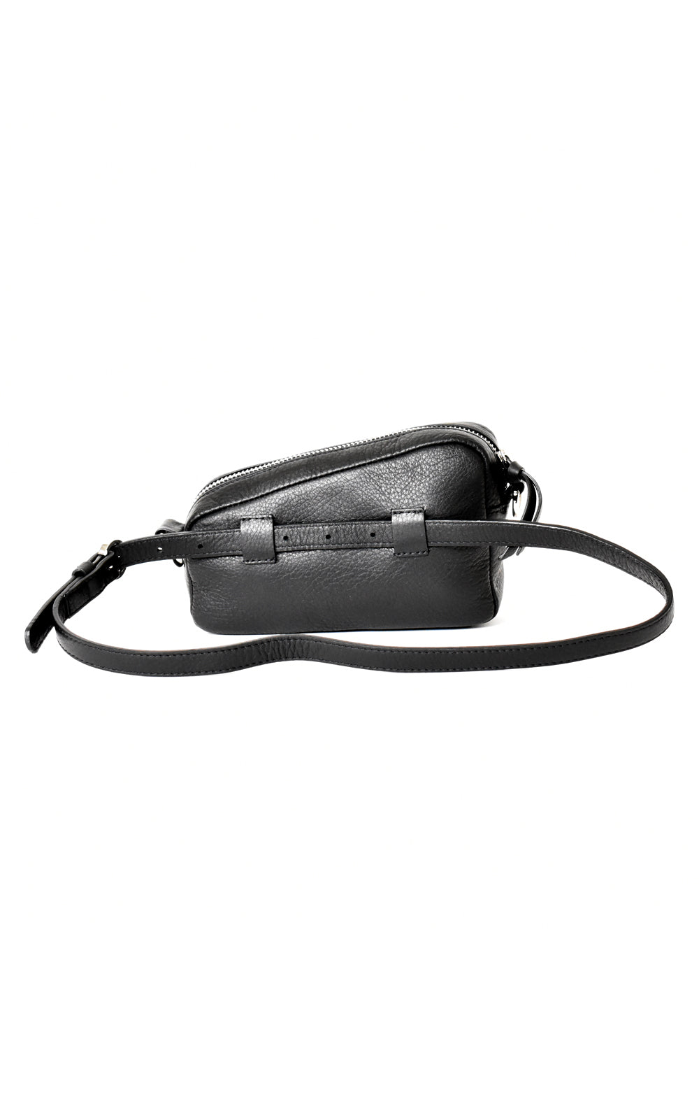 Black H-ology Leather Belt Bag with Removable Shoulder Strap Back