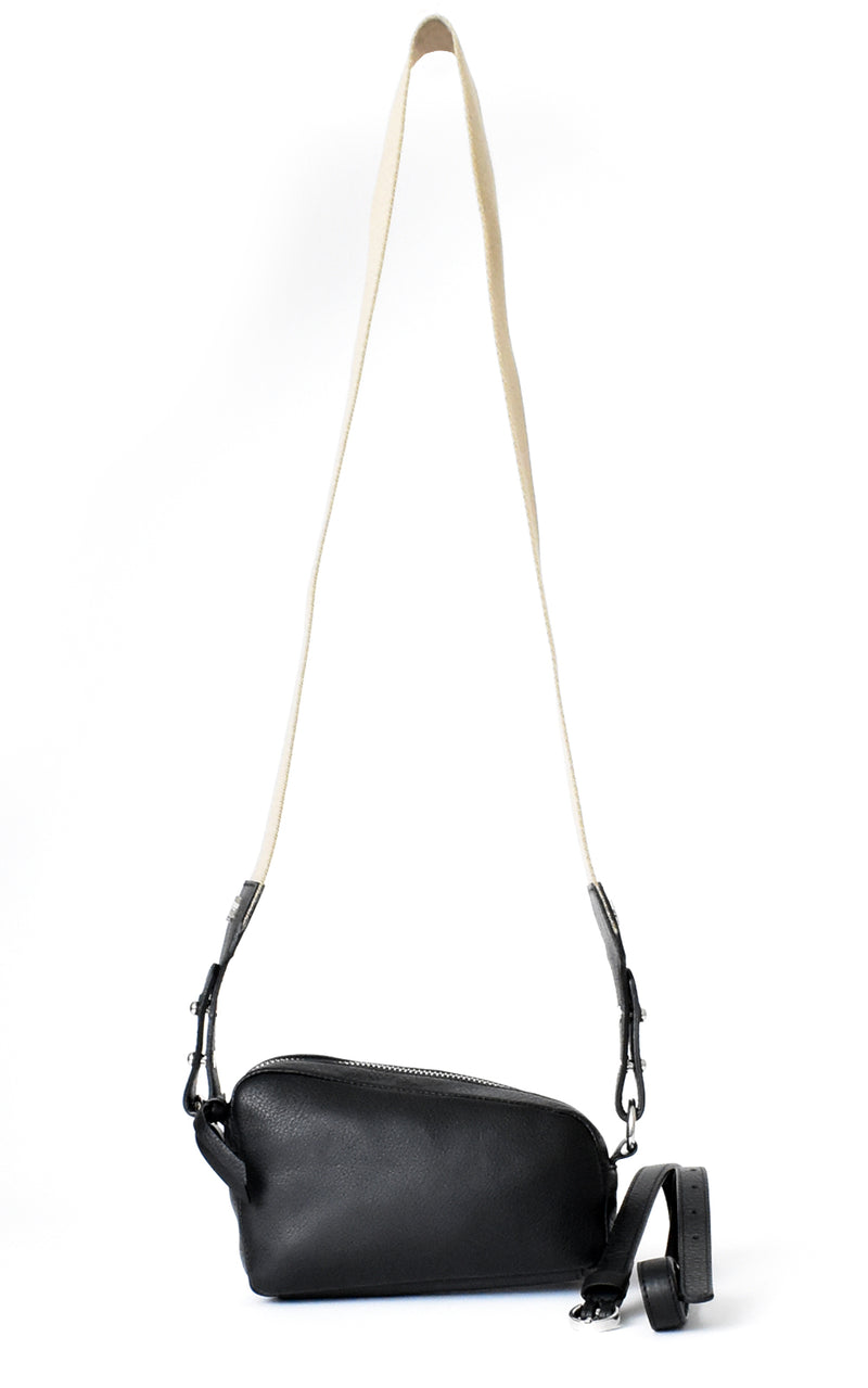 Black H-ology Leather Belt Bag with Removable Shoulder Strap