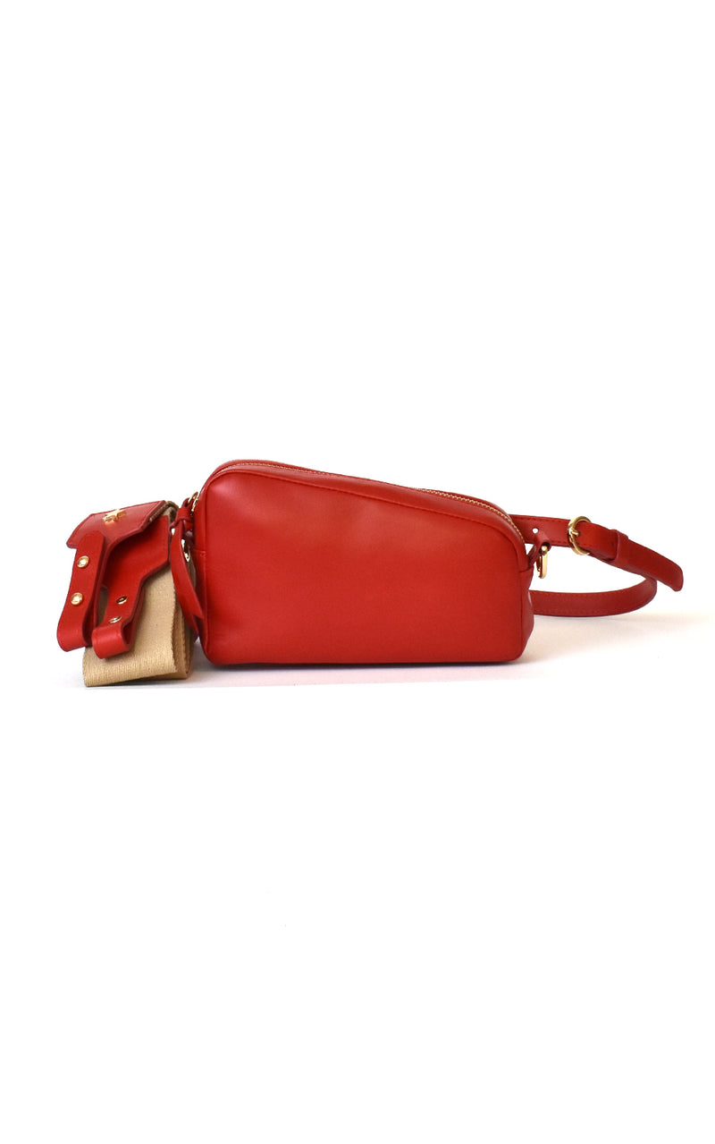 Lipstick Red H-ology Leather Belt Bag with Removable Shoulder Strap Front
