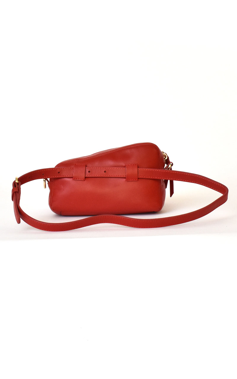 Lipstick Red H-ology Leather Belt Bag with Removable Shoulder Strap Back
