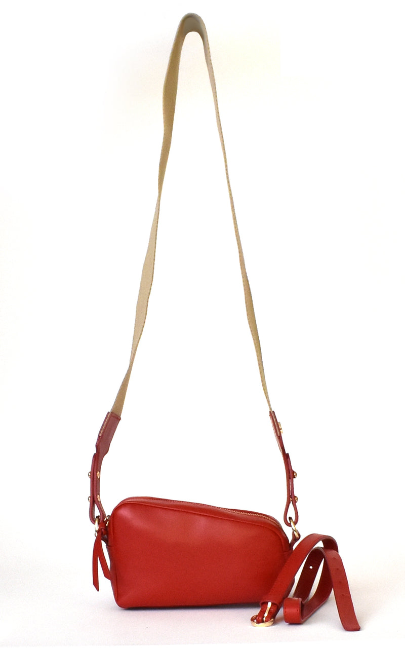 Red H-ology Leather Belt Bag with Removable Shoulder Strap