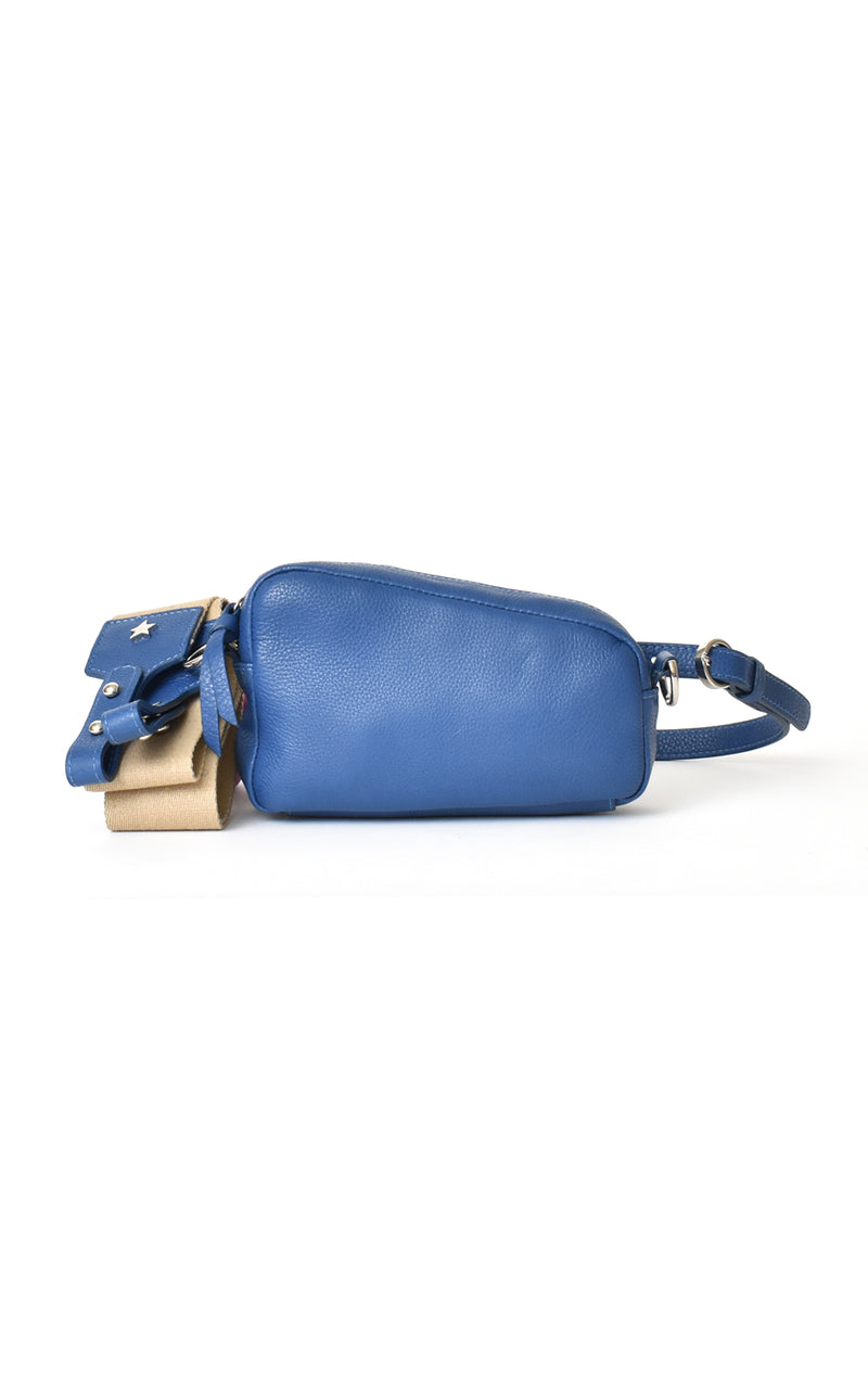 Royal Blue H-ology Leather Belt Bag with Removable Shoulder Strap Front