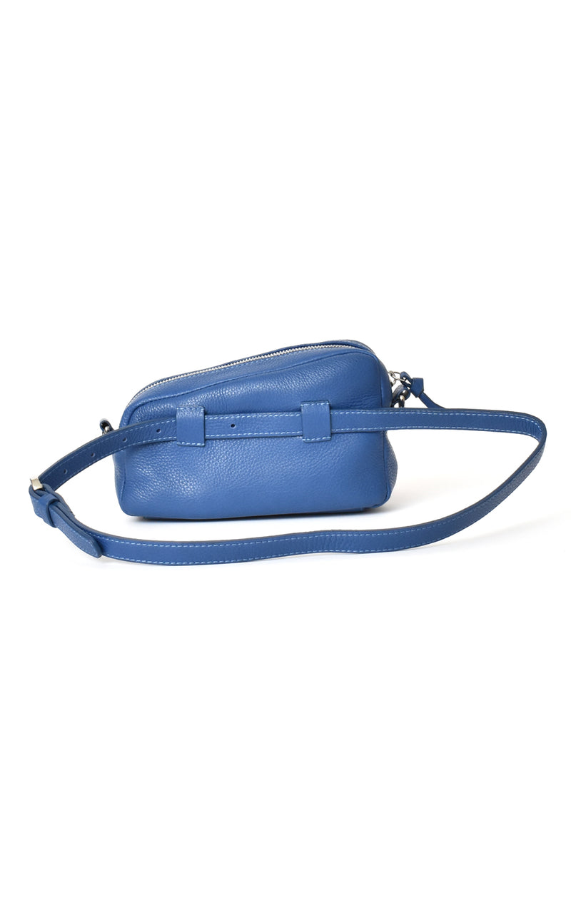 Royal Blue H-ology Leather Belt Bag with Removable Shoulder Strap Back