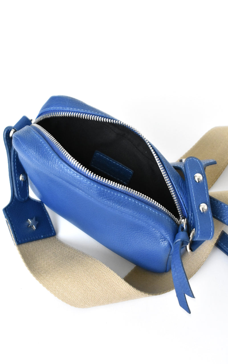 Royal Blue H-ology Leather Belt Bag with Removable Shoulder Strap Inside